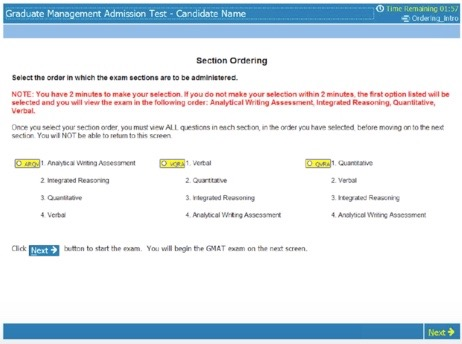 What the screen will look like on the GMAT where you select the section order you want to use
