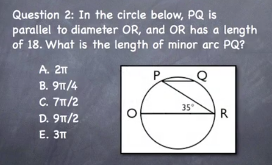Free sample gmat geometry question about circles and arc length